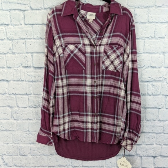 Knox Rose Tops - Knox Rose Plaid Button Down Shirt - Size Small